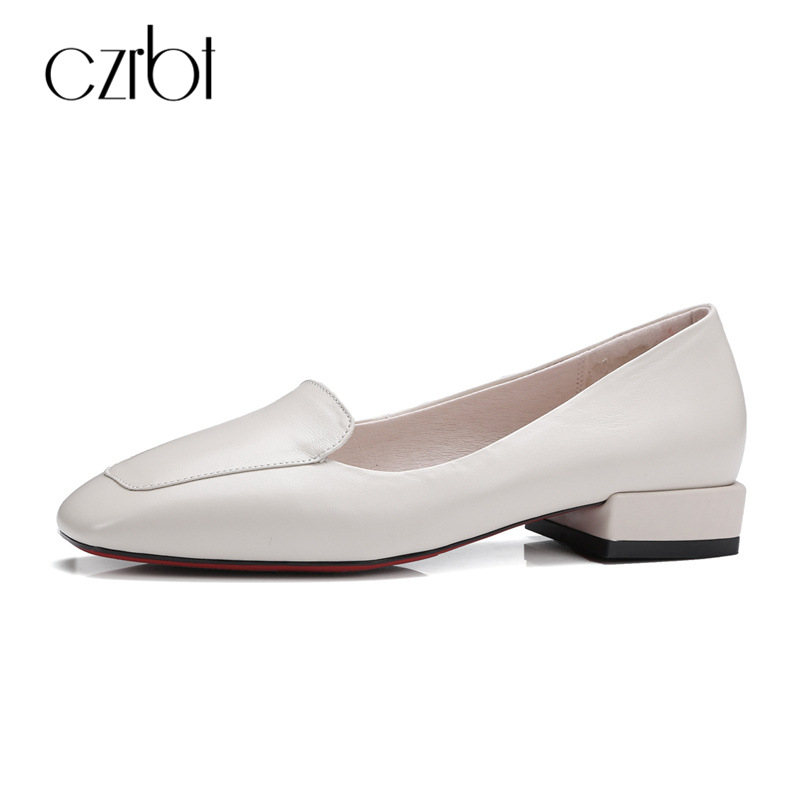 CZRBT Square Toe Spring Concise Walk Drive Work Shoes Women Low Heels 2cm Ladies Loafers Style Genuine Leather Women Shoes<br>