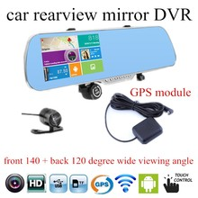 Car GPS navigation DVR mirror camera 5 inch rearview mirror for android HD Camera Recorder Rear View dual lens touch screen(China)
