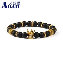 Ailatu Powerful King Coronation Crown Jewelry 8mm Matte Onyx Stone with Black Cz Stoppers Bracelet for Men's Gift(China)