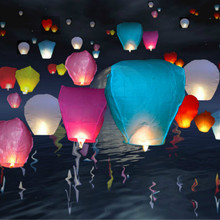 New Fashion 10pcs/lot Chinese Paper Lantern Sky Lanterns Kongming Flying Wishing Lamp Balloon DIY Wedding Party Decoration(China)
