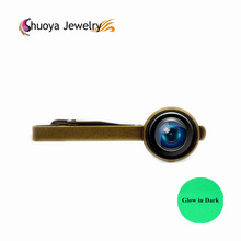 Camera Lens Tie Clip Glowing S&Y 2017 Hot Sale Fashion Gold Color Glass Tie Clips & Cufflinks Glow In Dark Glasses Tie Clip(China)