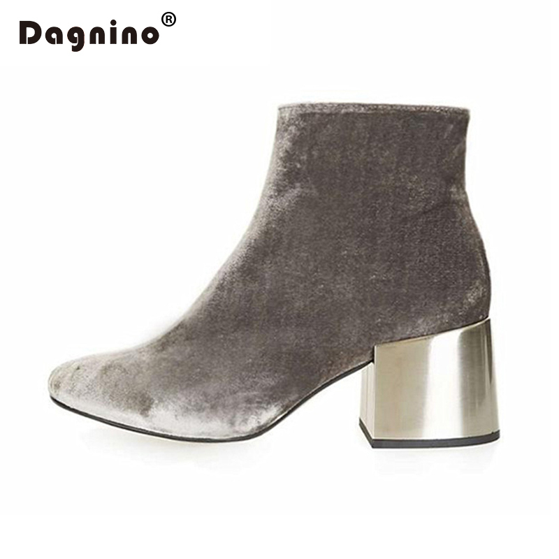 DAGNINO Brand Designers Velvet Ankle Boots Gray Zipper Metal Thick Heel Women  Genuine Leather High Heels Shoes Woman Winter Fur<br>