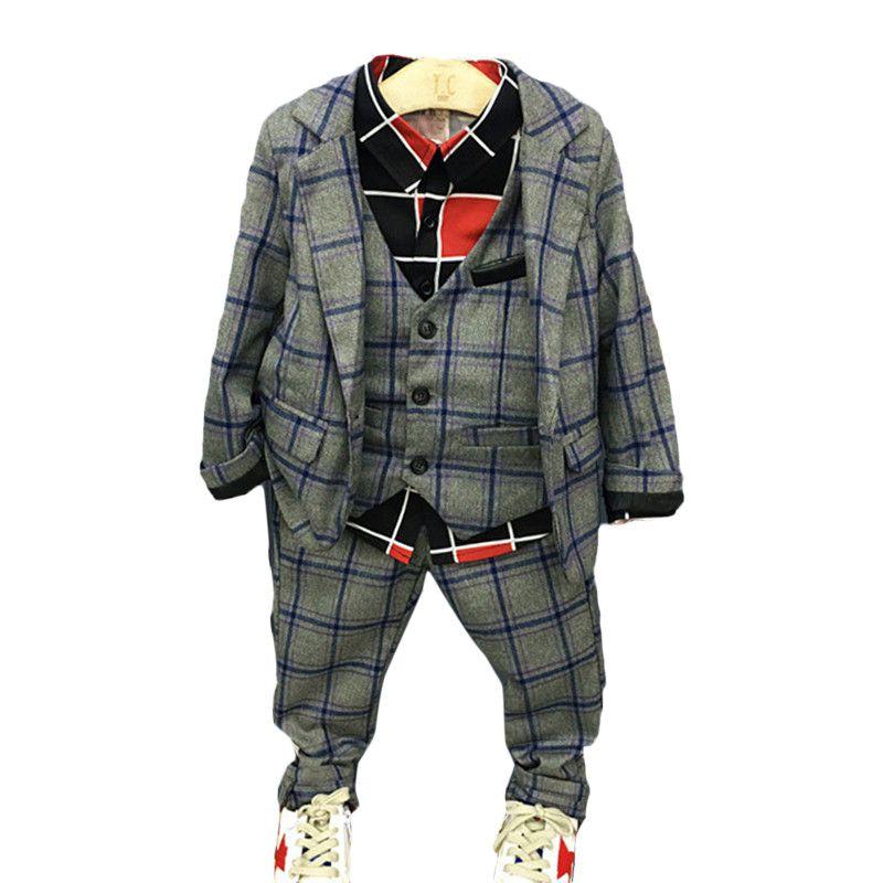2017 New spring autumn baby boys clothes suit  top coat+vest+ shirt + pants 4pcs/sets kids gentleman clothing sets<br>