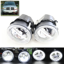 E4 CE 2-in-1 Led Fog Lights W/ White Halo Rings DRL Assembly Kit For Dodge Dakota Durango For Chrysler For Keep Grand Cherokee