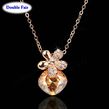 Shiny Crystal Flower cameo Chain Necklaces & Pendants Rose Gold Color Fashion Brand Party/Wedding Jewelry DWN186