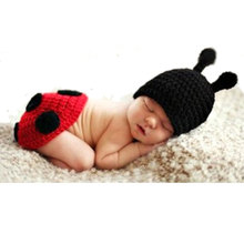 Baby Newborn Photography Props Accessories Fotografia Cute Ladybug Knitted Handmade Crochet Ladybird Photo Props Baby Hat Caps(China)