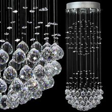 LED K9 crystal Pendant Lights Spiral staircase pendant lamp Stainless steel lighting luster GU10 Light 110V-260V voltage