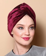 NEW Women Fashion Solid Velvet Twist Bow Headbands Turban Chemo Hat Crossed Hair band Hair Accessories Ladies Turbante Hijab