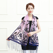 2017 Hot Purple Floral Velvet Scarf Women Winter Shawl Pashmina Fashion Long Wrap Dress Accessory Christmas Gift For Lovers