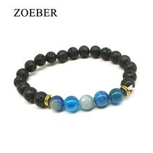 Zoeber New Stone Bead Bracelet Men Tiger Eye Lion Head Loose Red Blue Buddha Sea Sediment Lion Bracelet Tiger Eye DIY Jewelry