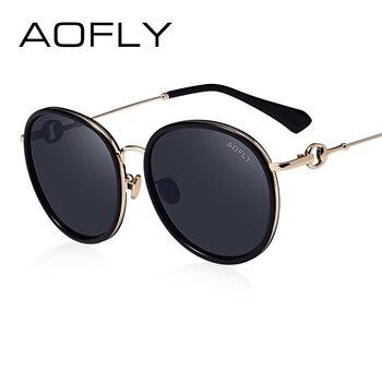 Aofly mulheres do desenhador da marca 2017 óculos de sol da moda óculos de sol do vintage para mulheres reflective espelho shades oculos feminino af7955