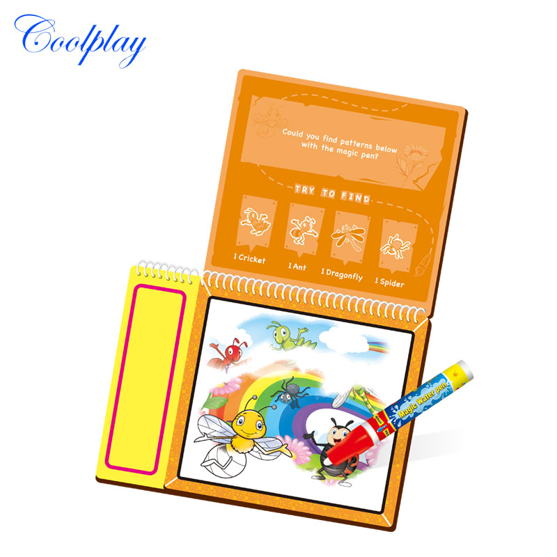 coolplay cp2329 1 insect magic water drawing book coloring book doodle with magic pen painting no ink non toxic drawing board - Magic Ink Coloring Books