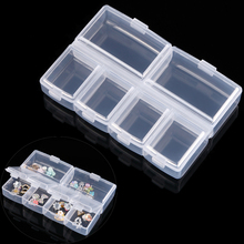 6 Grid Plastic Storage Case Rhinestone Dired Flower Nail Art Product Earring Jewelry Container Organizer Box Salon Manicure Tool