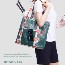Supermarket Women Shopping Bag Foldable Tote Reusable Washable Eco-friendly Grab Bag Breathable mesh Lady Shoes Beach bags(China)