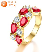 FYM Brand Cubic Zircon Ring Gold Color Fashion Red Crystal Wedding Jewelry For Women Bride Engagement Rings Wholesale