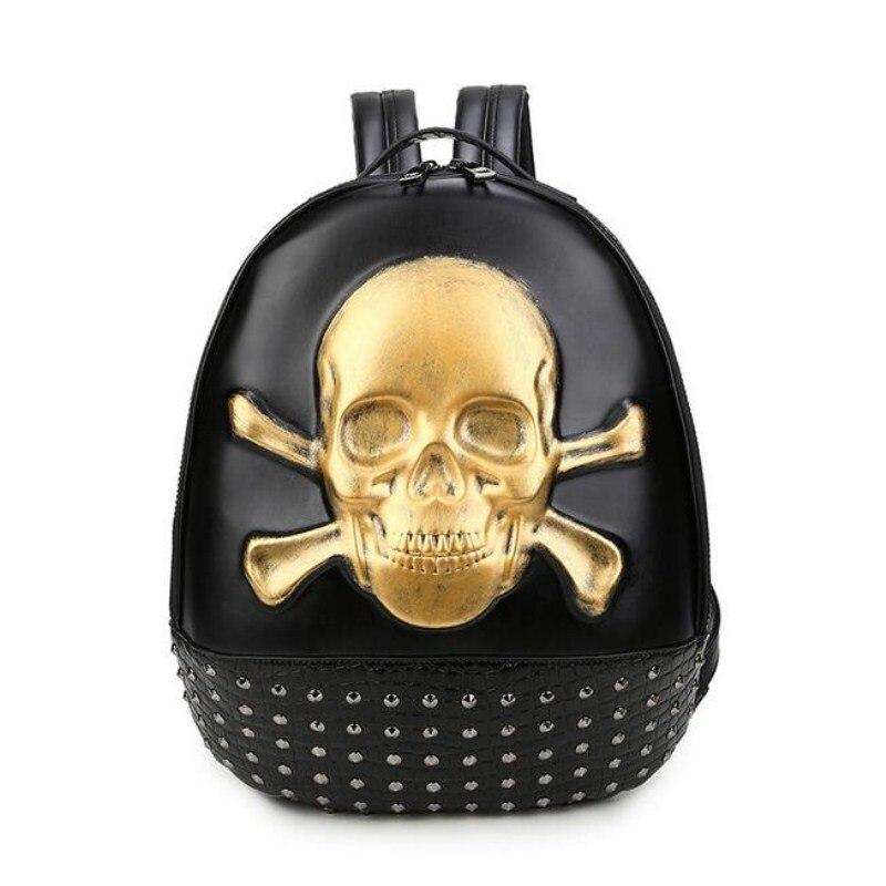 School 3D Skull Head Backpack Men Women s Skeleton Faux Synthetic Leather Laptop Student Laptop Rucksack<br>
