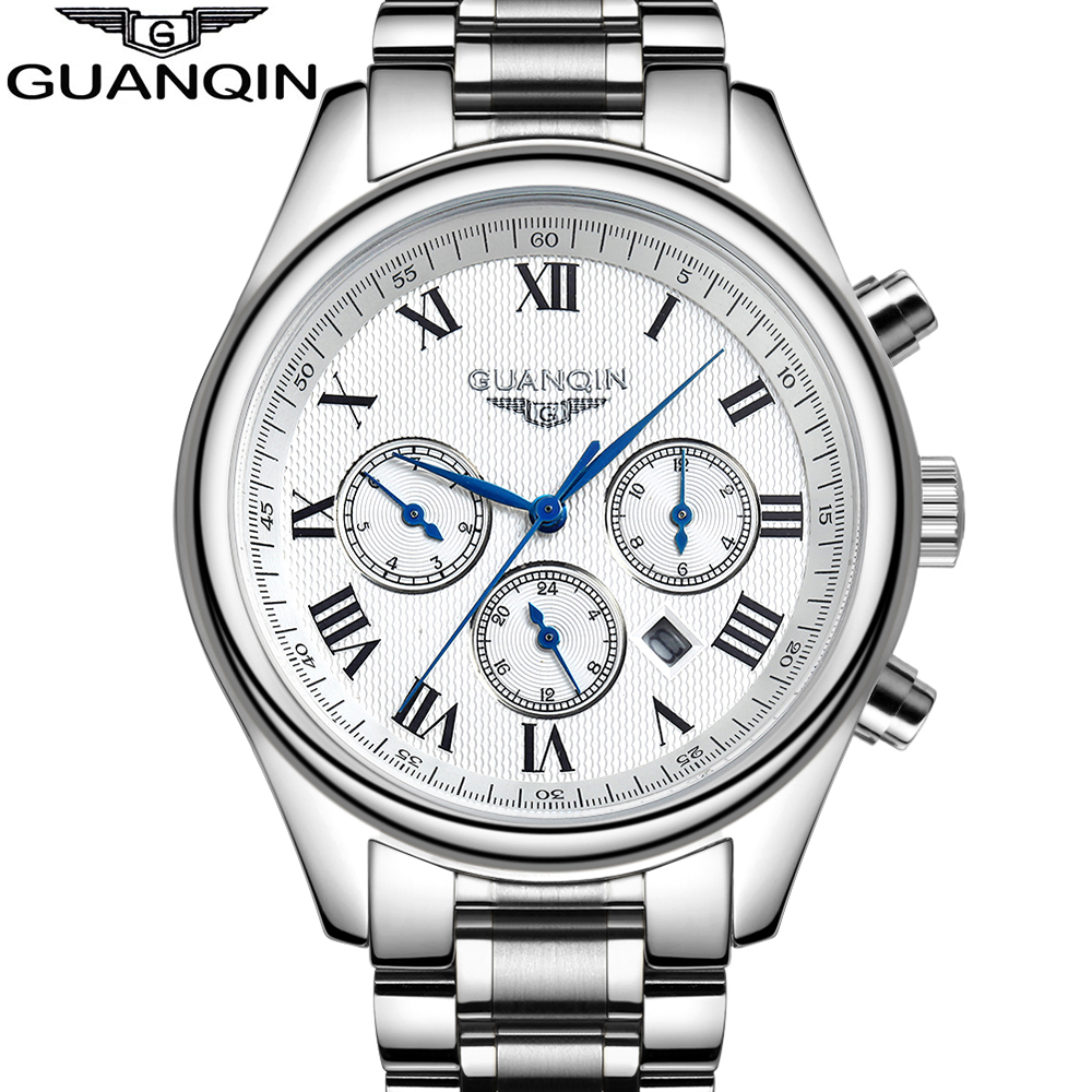 GUANQIN Luxury Brand Watches Men Fashion &amp; Casual Pin Buckle Stainless Steel Watches Sapphire Crystal Quartz Mens Wristwatches<br><br>Aliexpress