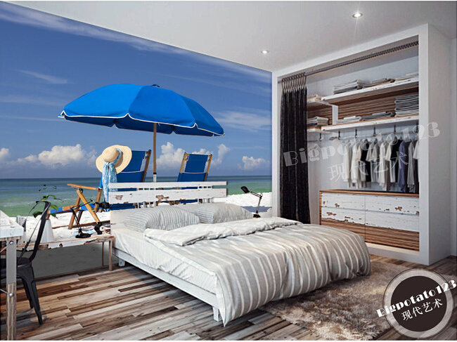 The  custom 3D murals,The Mediterranean Sea beach sun umbrella    , the living room sofa TV wall bedroom background wall paper<br>