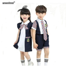WEONEDREAM 2017 New Arrival Girls Summer Dress Boys Polo Shirt + Shorts Set with Bowtie Brand School Uniforms Children Suit
