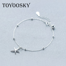 TOYOOSKY Real Silver Bell Star Starfish Pendants Bracelets Sea Star Charm Bangles Women Fashion Jewelry(China)