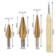 Hakkin 3pcs Titanium Coated Two Fluted Titanium Step Drill Bits Set Detailed Classification Aperture W/ Automatic Center Punch(China)