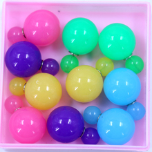 Free Shipping Factory Directly Cheap Cute Jelly Candy Colors Big And Small Double Faced Resin Ball Pearl Stud Earrings,25pairs(China)