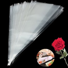 100Pcs Clear Candy Cellophane Cone Plastic Cello Sweet Popcorn Flower Birthday Wedding Party Gift Bags Party Supplies(China)