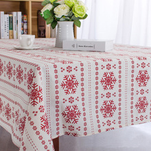 Christmas Snowflake Design Cotton Linen Tablecloth Printed Table Cover Customization Any Size Table Cloth Manteles De Navidad CT