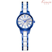 Kimio Fashion White Ceramic Water Resistant Business Dress Women Man Wristwatches Lady Gaga Couple Gift Rhinestone Casual Watch