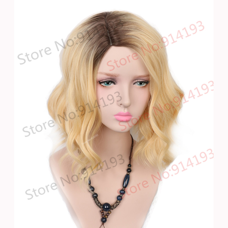 Medium Dark Roots Golden Blonde Synthetic Wig Heat Resistant Hair Wavy Natural Body Wave Wigs For Women<br><br>Aliexpress