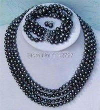 Jewelry set Hot new fashion Noblest 4rows 6-7mm black pearl necklace bracelet earring Beads Natural Stone BV172 Wholesale Price(China)