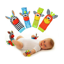 Baby Rattles Toys Plush Foot Socks Watch Wrist Strap Babies Newborn Soft Children infant Educational Mobile Musical Toys Jouet(China)