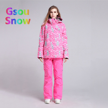 Gsou Sonw Outdoor Sports Winter Women's Skiing Clothing Snowboarding Sets Warmer Ski Jackets Waterproof Ski Pants Suits(China)