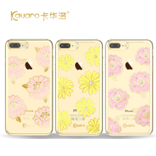 High Quality With Crystals from Swarovski Element Cover Case For Apple iPhone 7 7 Plus Flower Hard Phone Cases Original KAVARO