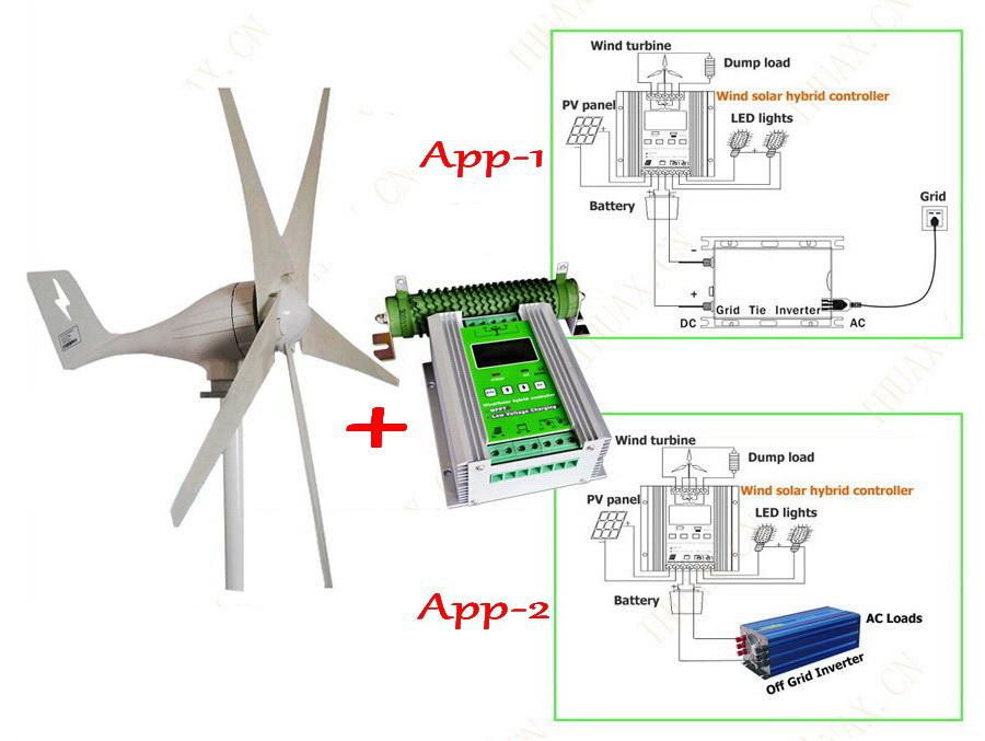 600W wind generator MAX 830W wind turbine+1000W MPPT hybrid charge controller for 600W wind turbine generator+400W solar panels