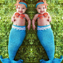newborn photography props baby Costume Mermaid Infant baby photo props Knitting fotografia newborn crochet outfits accessories(China)