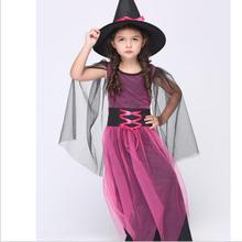Halloween Christmas Costumes Girl Fly Witch Costume Dress and Hat Party Cosplay Clothing for Kids Girl Childrendren(China)