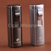 COHIBA Hiigh Quality Turbo Lighter Windproof Butane Gas Windproof Triple Torch Jet Flame Cigarette Cigar Lighter W Cigar Punch(China)