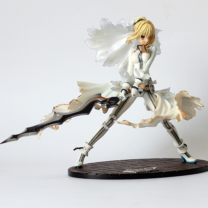 22CM Japanese anime figure Fate/stay night CCC wedding dress ver SABER bride action figure collectible model toys for boys<br>