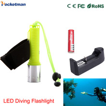 flashlight with charger LED flashlight 18650 battery tactical Waterproof Diver underwater diving flashlight powerful for AAA(China)