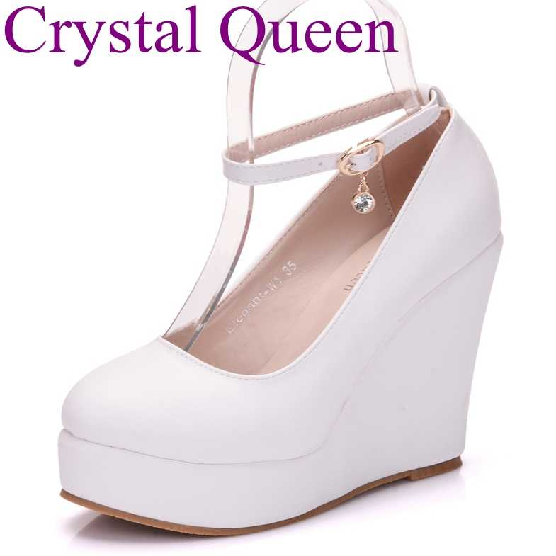 Detail Feedback Questions about Crystal Queen White wedges shoes wedges  pumps women platform high heels round toe white high heels shoes platform  wedges ... 4a11b8beaeb5