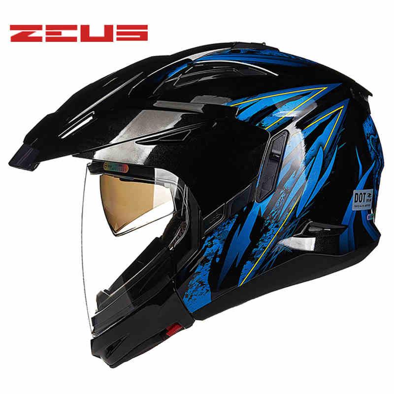 Dirt Bike Helmet With Visor >> Us 146 13 42 Off Zeus Top Motorcycle Modular Double Visor Helmet Atv Mtb Dirt Bike Motocross Helmets Durable Wind Versatile Casco Casque In Helmets