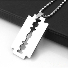 2016 Creative Stainless Steel Razor Blade Pendant Silver Color Ball Chain Necklace Jewelry Valentines Gift For Men Free Shipping