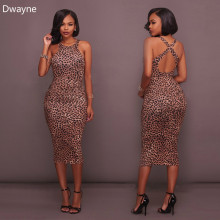 Dwayne Sexy Women Ladies Autumn Dress Sleeveless Leopard Printed backless Bandage Bodycon Pencil Cocktail Clubwear Party Dress(China)