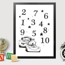Arabic Numerals Cars Nursery Canvas Paintings Cartoon Prints Poster Kids Pictures Wall Art Black and White Home Decor Unframed