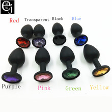 Buy EJMW Anal Sex Product Black Anal Plug Silicone Small Butt Plug Anal Men Different Color Gem Sex Toy Men Women ELDJ42