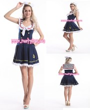 FREE SHIPPING!Sexy Navy Ladies Sailor Costume Sea Sailor Uniform Fancy Dress +Hat(China)