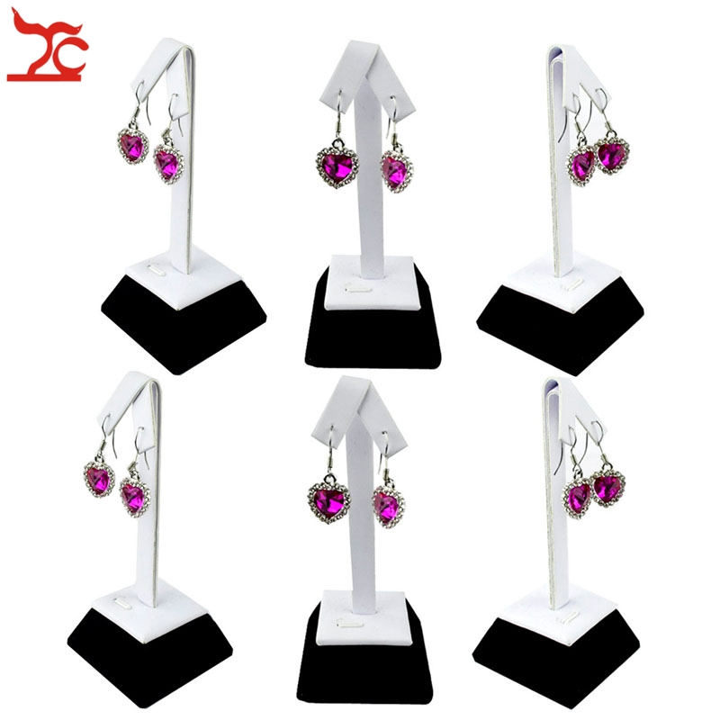 6Pcs Jewelry Display Holder  White and Black Earring Stud Display Storage Organizer Stand Wooden Earring Stand 5*5*12cm