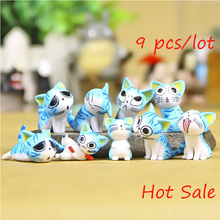 9Pcs/set Hot Sale Children Cute Cheese Cat Miniature Action Figures Toys Lovely Cats Anime Collection Of Model Toys Decorations