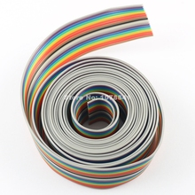 2M Meter / 6.6FT 1.27mm Pitch 18 Way Wire Conductor Rainbow Color IDC Flat Ribbon Cable For 2.54mm FC Connector
